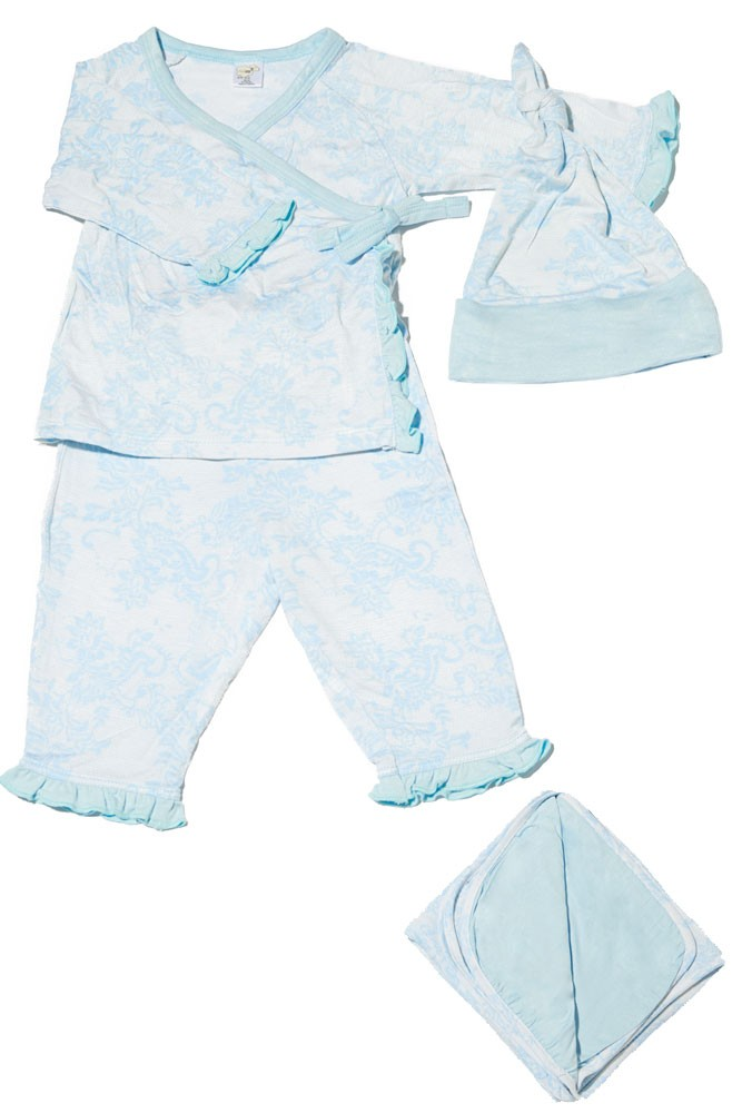 Baby Grey 4-pc. Gift Set (Ruffled Kimono top & Pant, Cap & Blanket) (Chantilly)