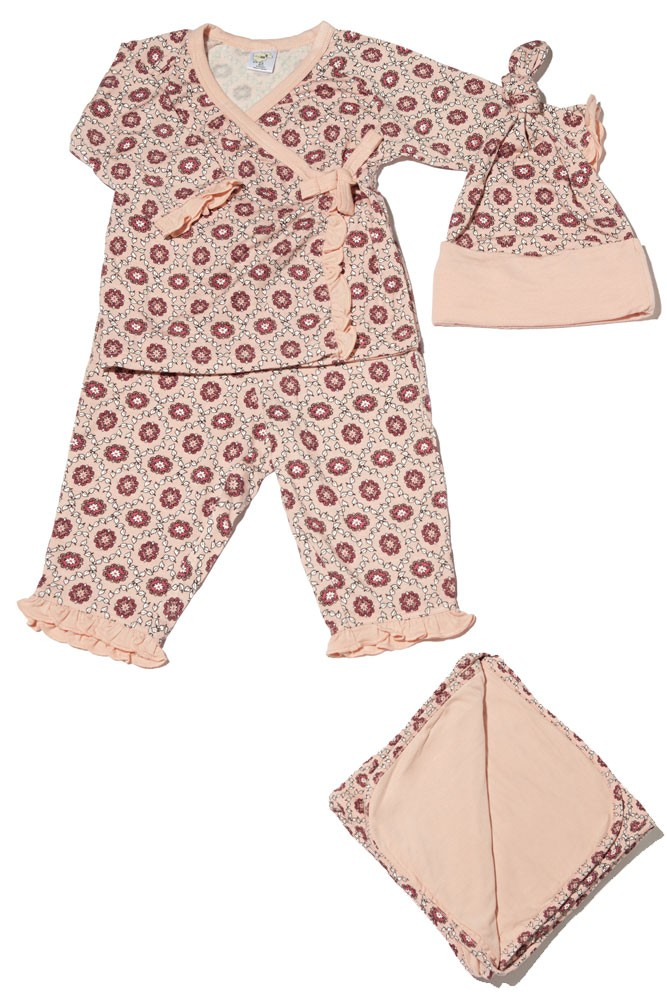 Baby Grey 4-pc. Gift Set (Ruffled Kimono top & Pant, Cap & Blanket) (Pink Blush)