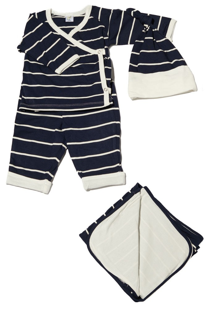 Baby Grey 4-pc. Gift Set (Kimono Top, Cuffed Pant, Cap, & Blanket) (Navy Stripes)