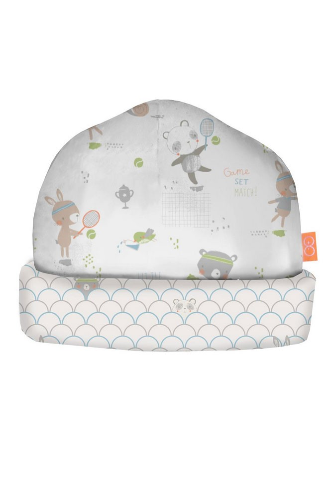 Magnificent Baby Boy Reversible Cap (Blue Tennis Print)