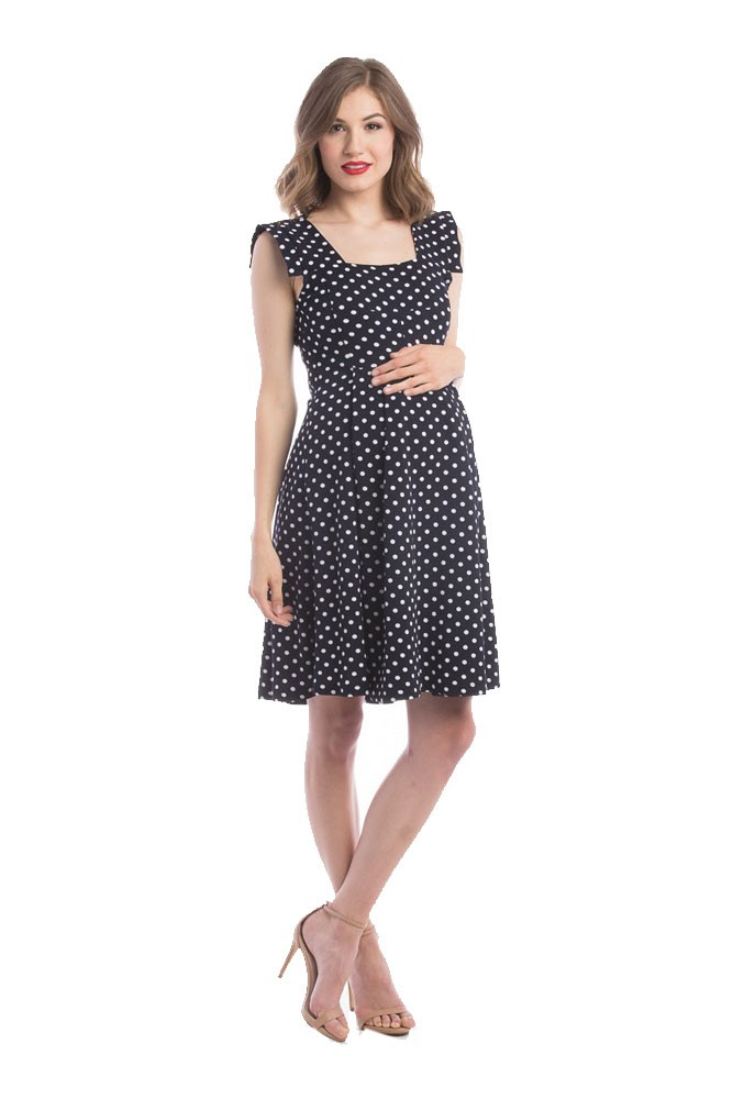 7a1fbe10a73 Rachel Pebbled Scuba Maternity Dress In Navy White Polka Dot By