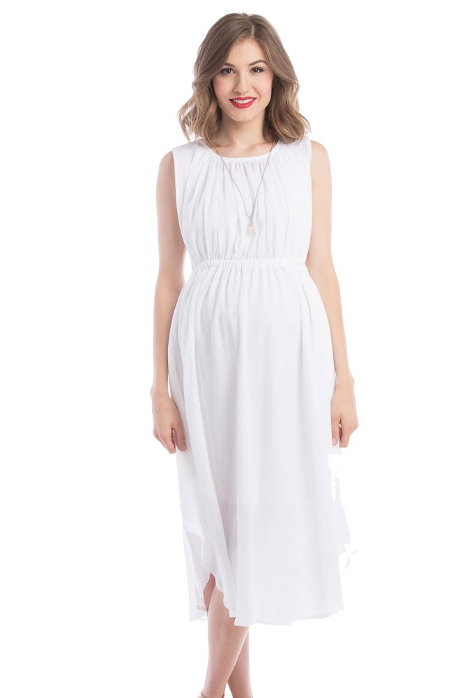 Adeline Grecian Maternity & Nursing Dress (Ivory)