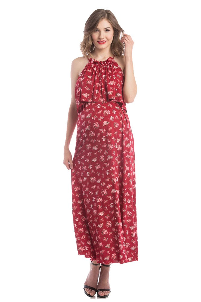 Vivian Halter Maxi Maternity & Nursing Dress (Burgundy Rose Print)