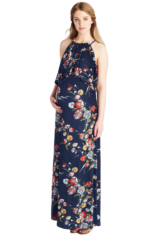 4195a042515 Vivian Halter Maxi Maternity   Nursing Dress in Blue Botanical Print ...