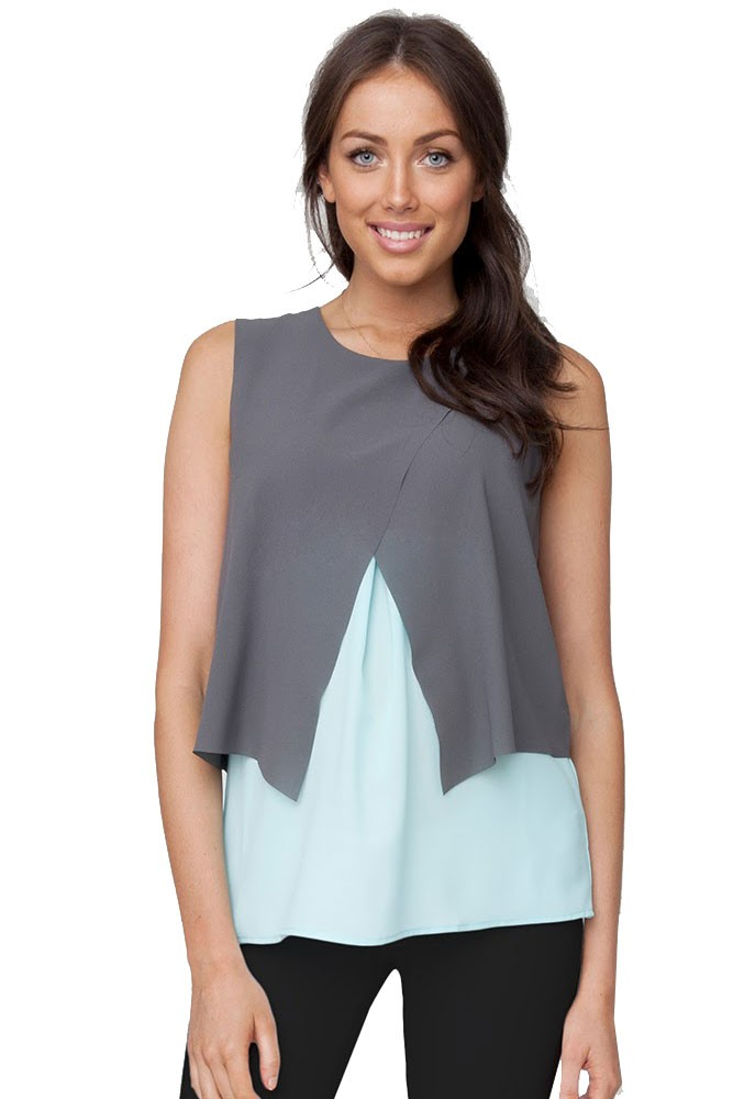 Skyler Crossover Sleeveless Woven Maternity & Nursing Blouse (Jett/ Aqua)