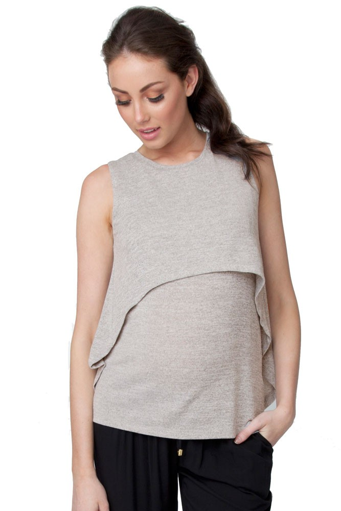 Swing Back Maternity & Nursing Tank (Grey)