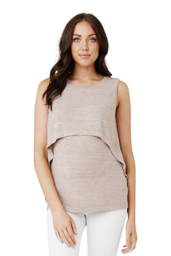 Swing Back Maternity & Nursing Tank (Chalk Pink)