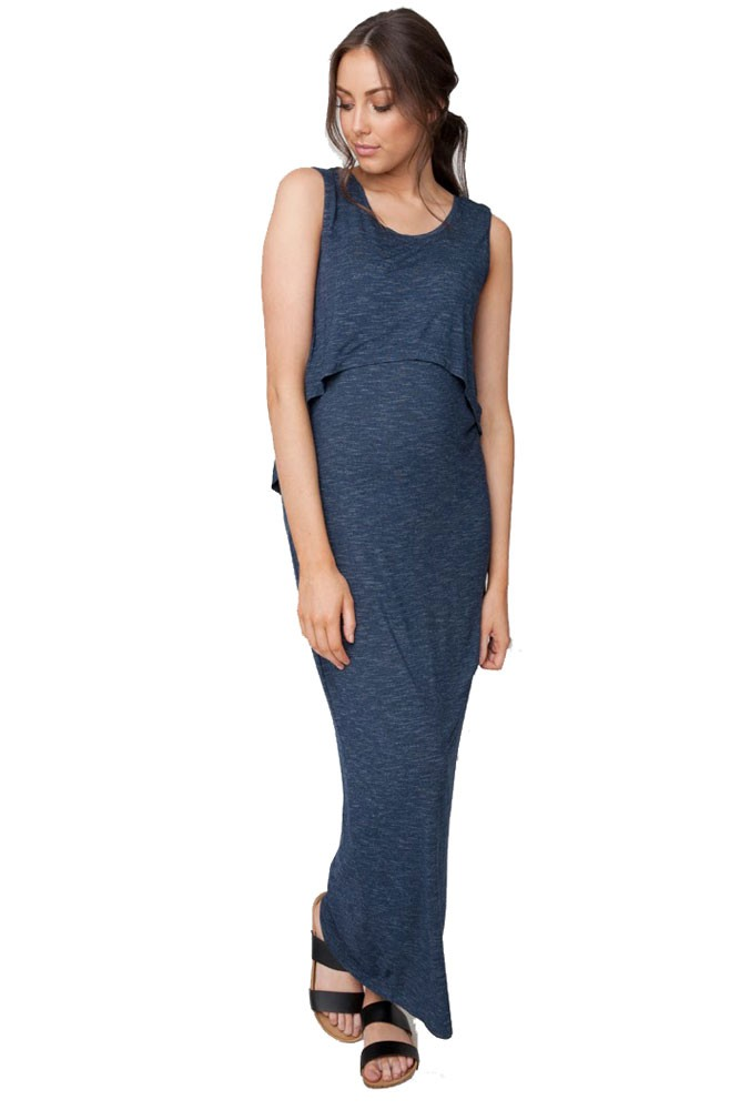 Charlie Swing Back Maternity & Nursing Maxi Dress (Denim)