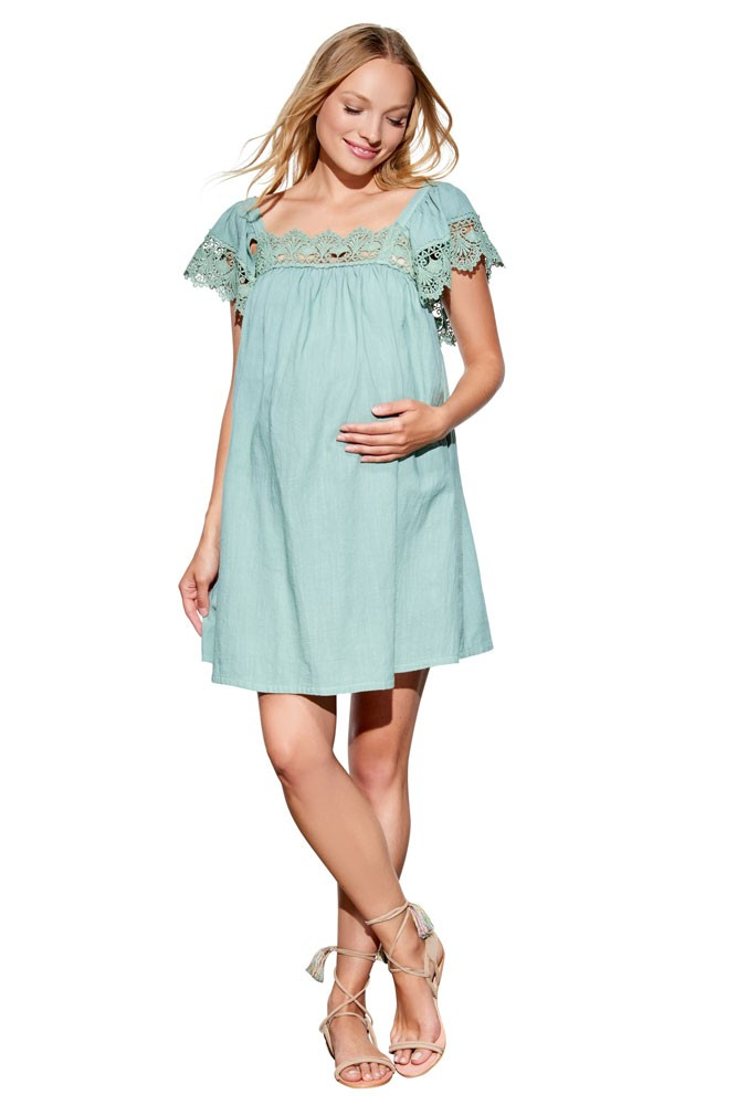 Nora Crochet Cotton Baby Doll Maternity Dress In Palm Green By