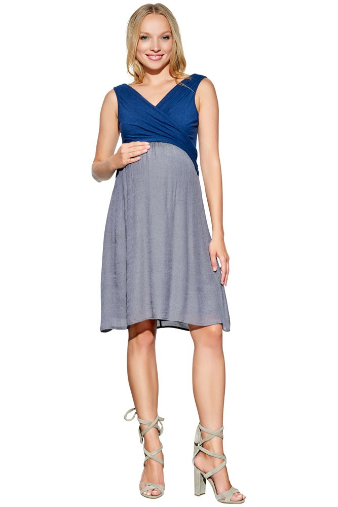 Karina Overlap Crossover Baby Doll Maternity & Nursing Dress (Navy/Charcoal)