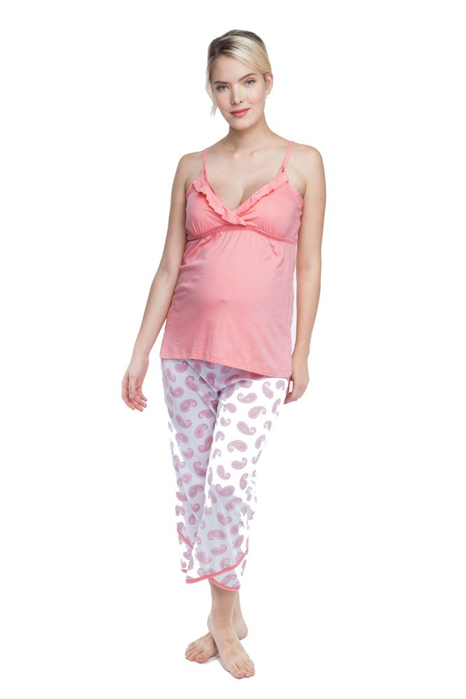 Belabumbum Paisley Dreams Nursing Cami and Pant Set (Paisley Print)