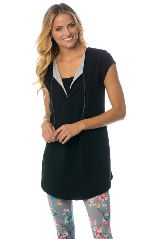 The Tide Maternity & Nursing Tunic by Majamas (Black)