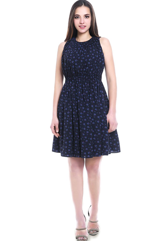 Asia Woven Maternity & Nursing Dress (Navy Print)