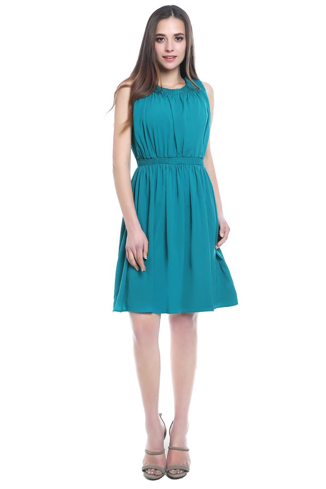 Asia Woven Maternity & Nursing Dress (Teal)