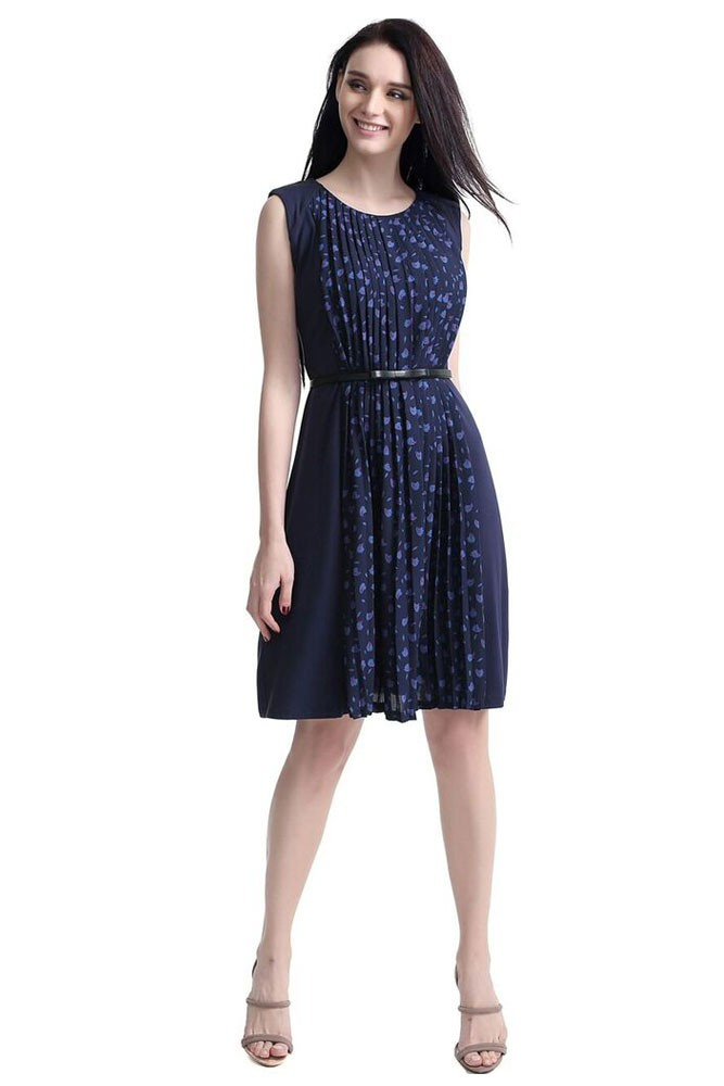 Rayna Pleated Maternity & Nursing Dress (Navy)