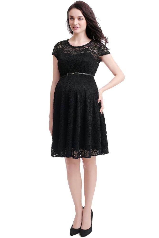 Olena Lace Skater Maternity Dress In Black By Kimi Kai Maternity