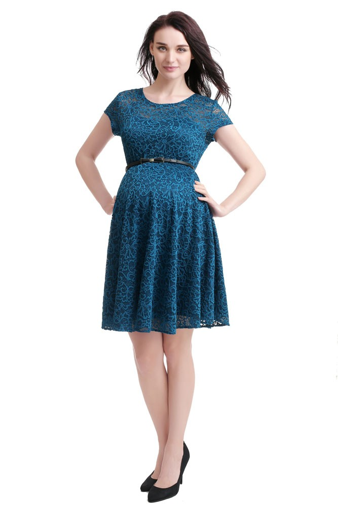 Olena Lace Skater Maternity Dress (Teal)