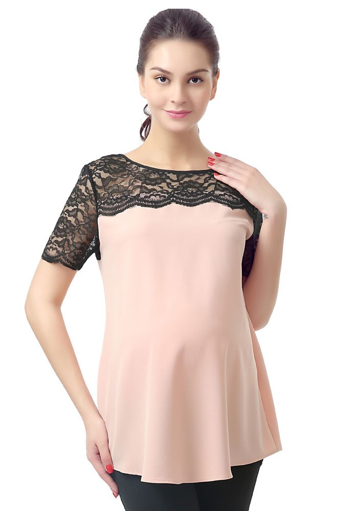 Pamela Lace Yoke Maternity Blouse (Blush)