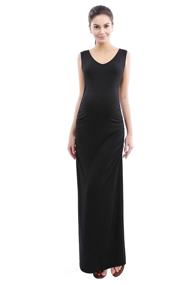 Jacey V-Neck Lace Back Maxi Maternity Dress in Black by Kimi & Kai ...