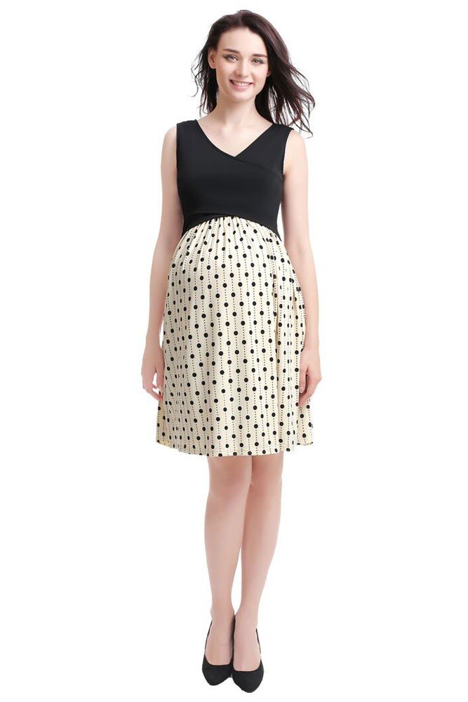 Jacinda Colorblock V-Neck Maternity & Nursing Dress (Polka-Dot)