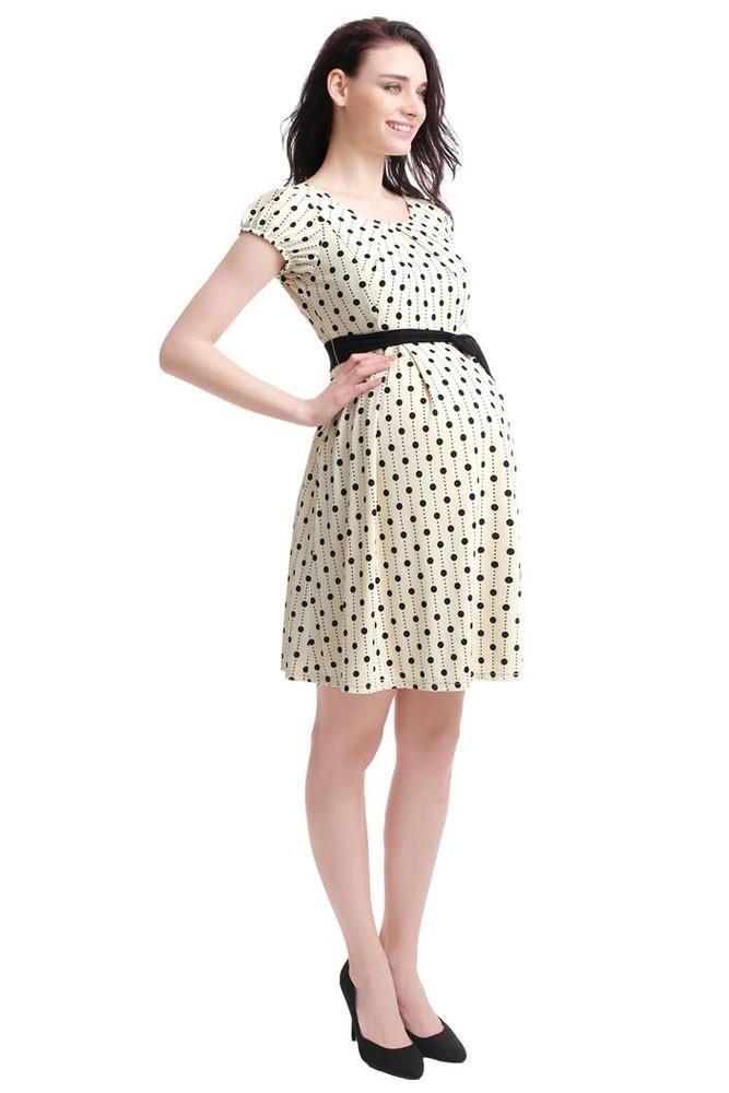 b28d6e11a96 Tailor Pleated Scoop Neck Skater Maternity & Nursing Dress in Beige ...
