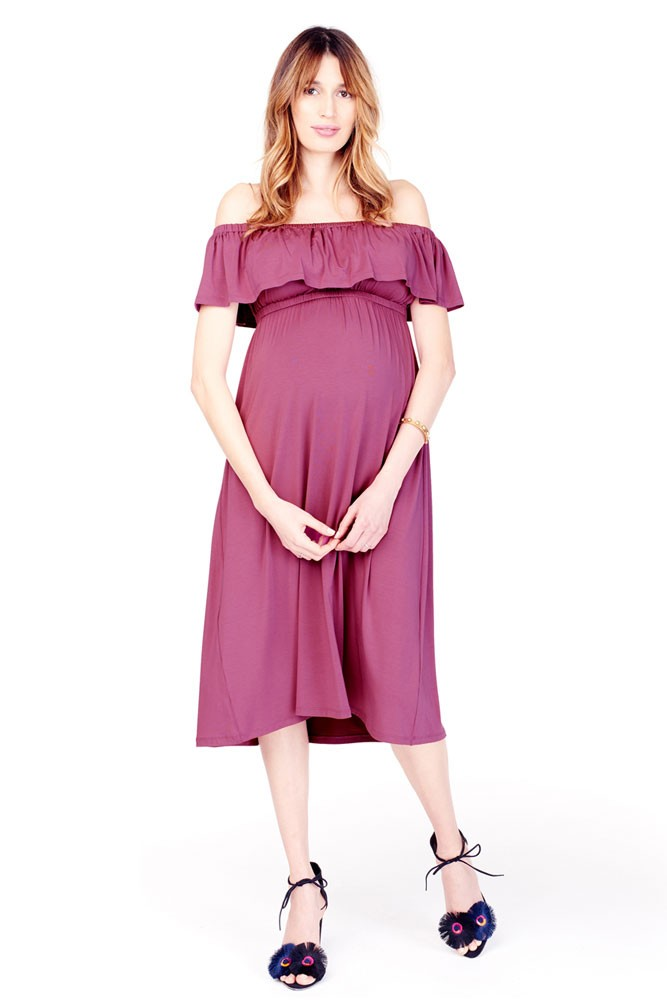 Ingrid & Isabel Off-the-Shoulder Midi Maternity Dress (Hibiscus)