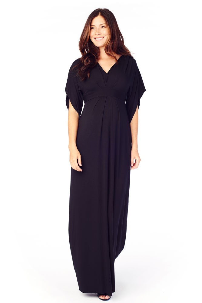 Ingrid Amp Isabel Kimono Maxi Maternity Dress In Jet Black