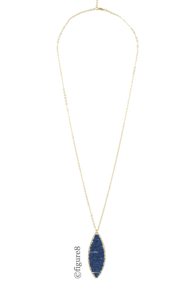 Crystal Beaded Long Necklace (Blue)
