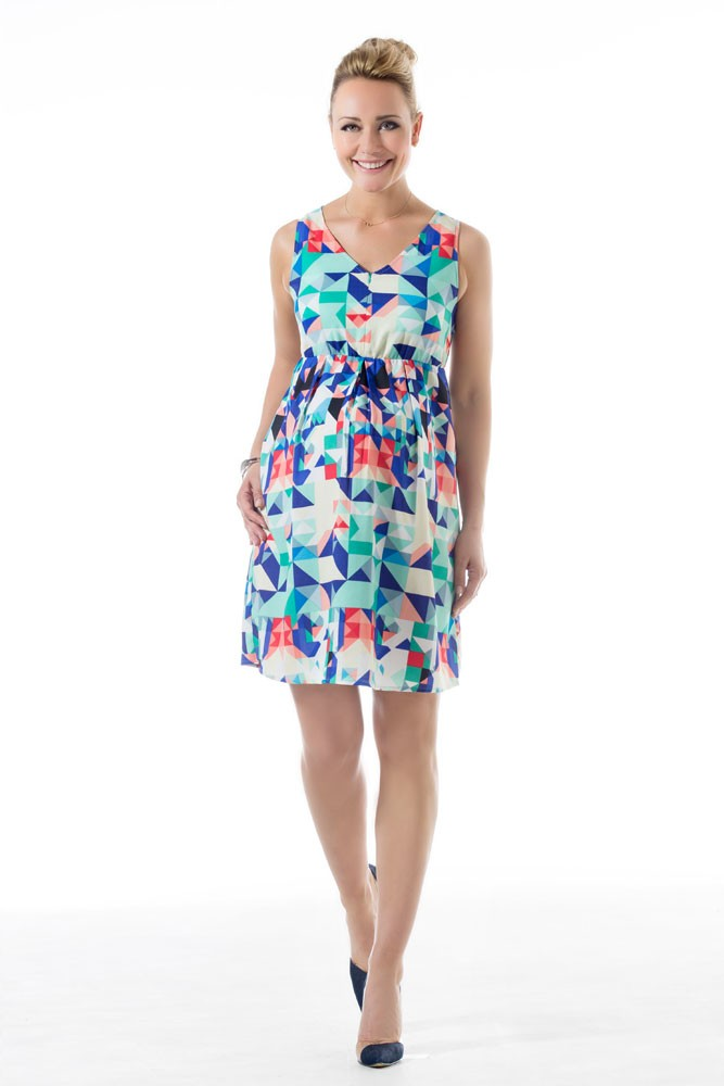 Camryn Woven Maternity & Nursing Dress (Riverside Blue Print)