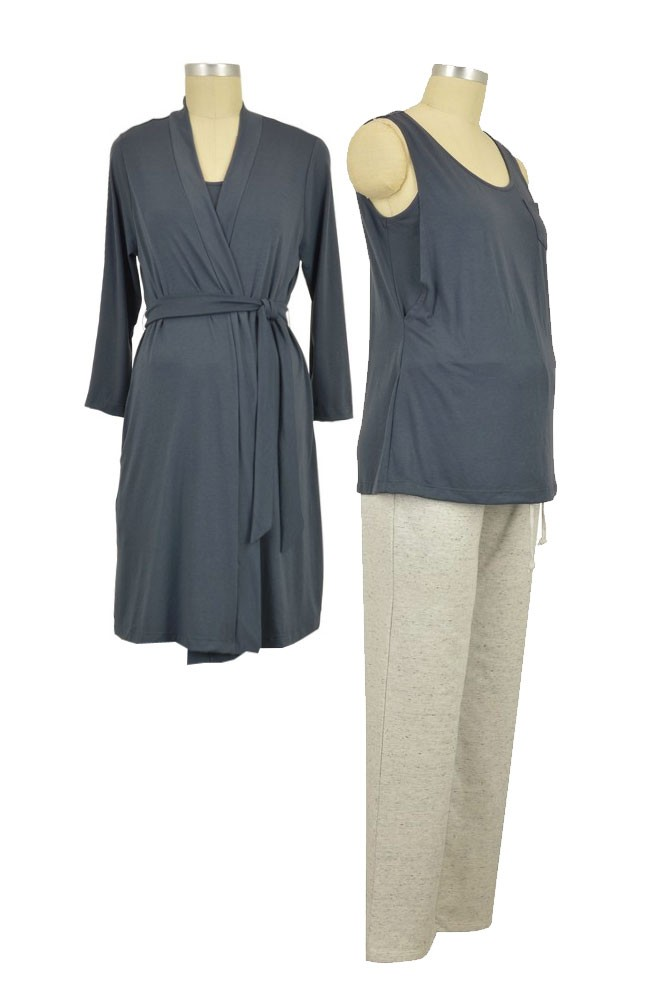 Sophie & Eve Aria 3-pc Nursing PJ & Robe Set (Slate)