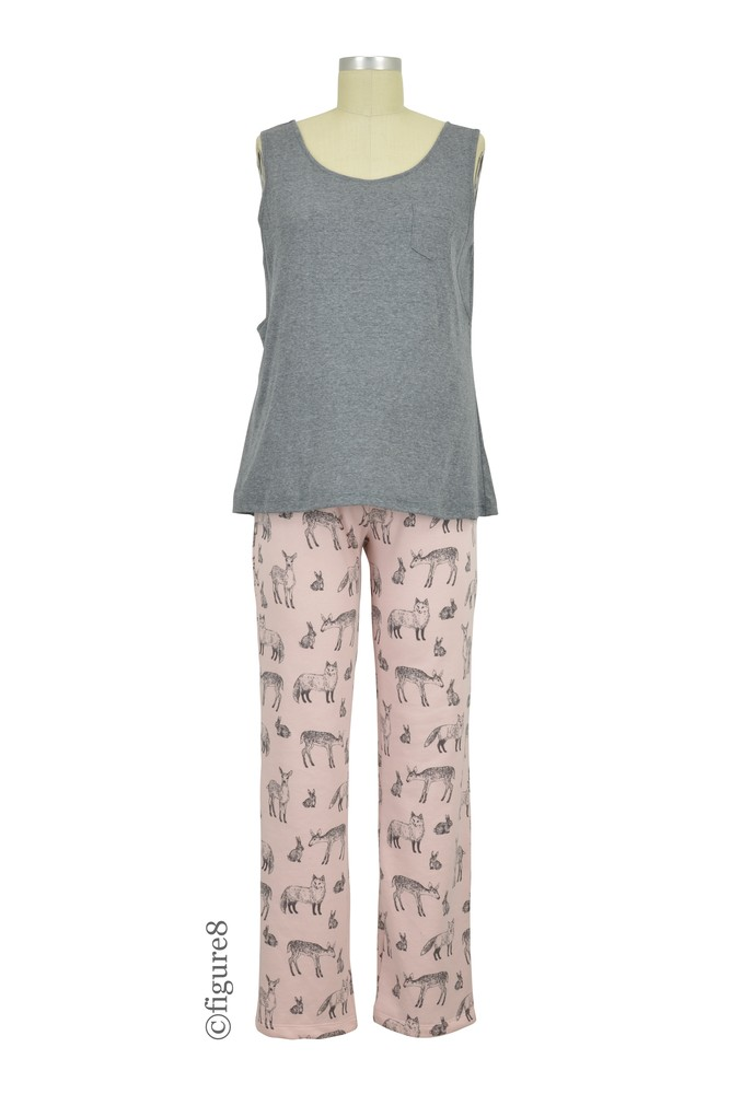 Sophie & Eve Aria 3-pc Nursing PJ & Robe Set (Charcoal & Faun Print)