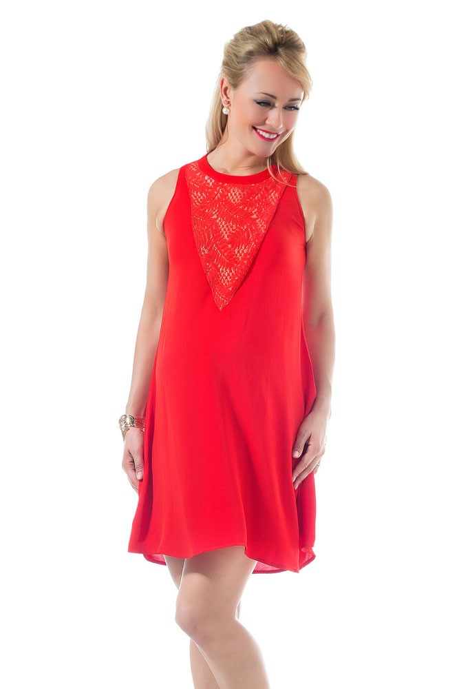 Caterina Lace Panel Woven Maternity & Nursing Dress (Aurora Red)