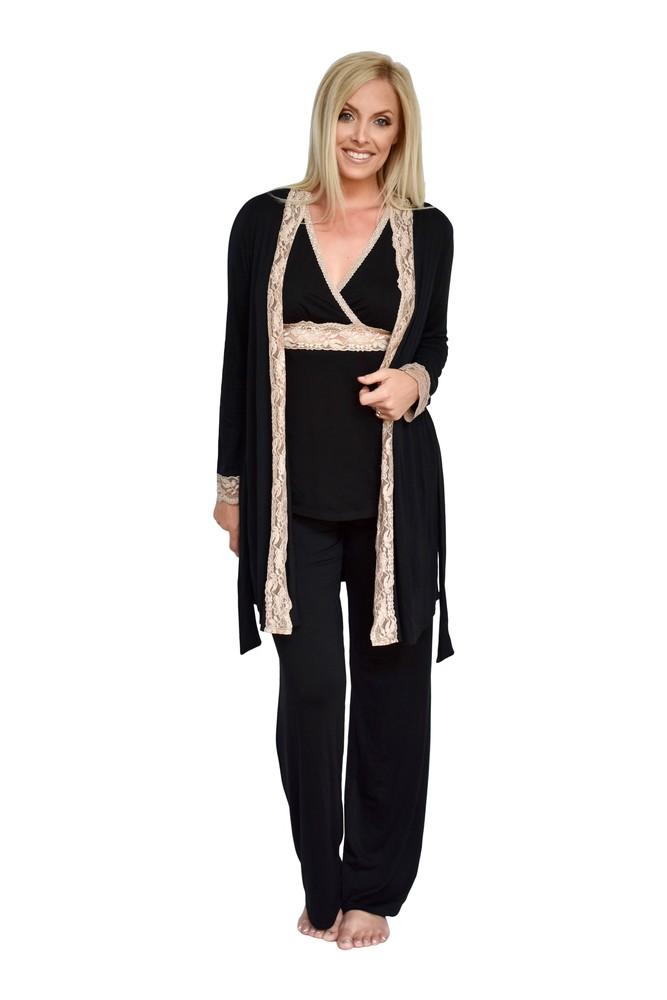 02a00d9525e Baju Mama 3-pc. Emma Modal-Lace Sleeveless Nursing PJ & Robe Set in Black/Cream  Lace