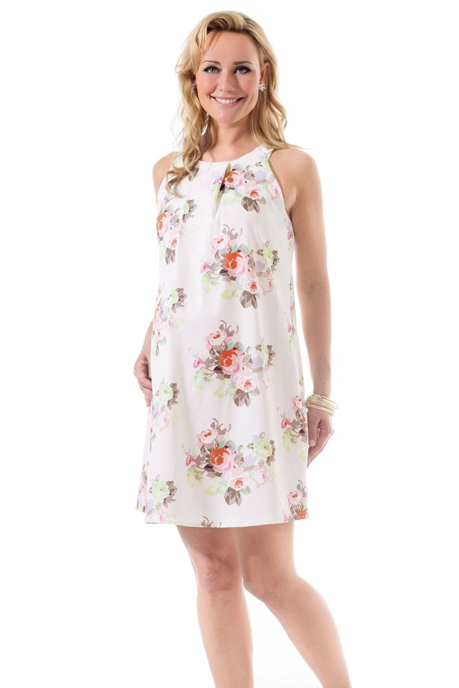 6562c199c7ac Bella Pleated Woven Maternity   Nursing Dress in Cream Floral by ...