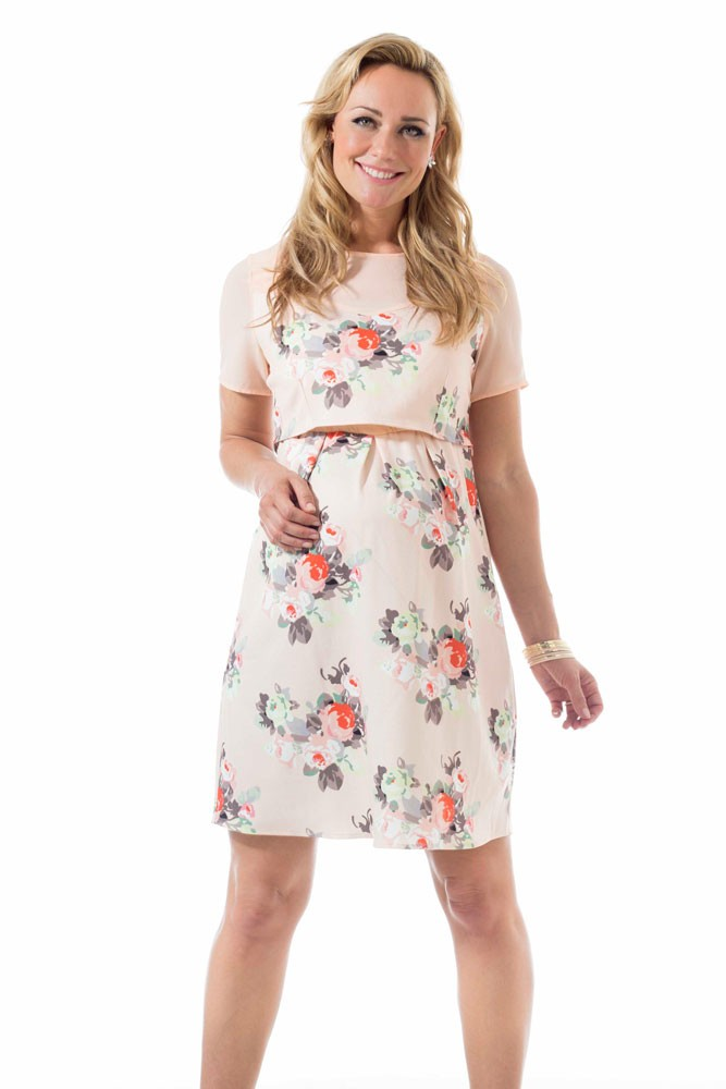 ab04fbd39e1704 Celestine Maternity & Nursing Woven Dress in Peach Floral by Bove by Spring  Maternity