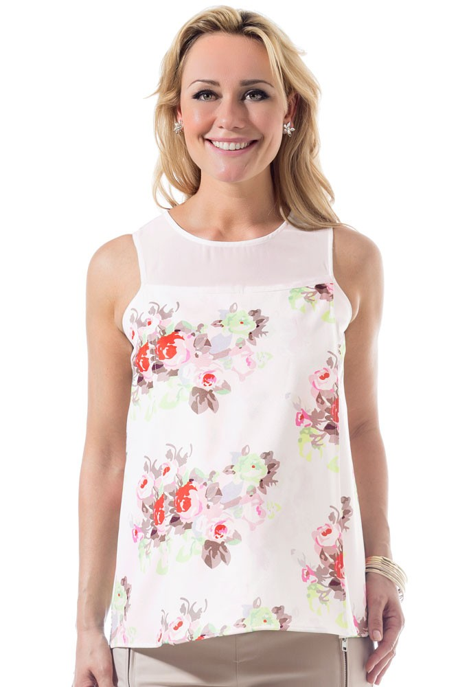 Caylee Back Overlap Woven Maternity & Nursing Top (Cream Floral)