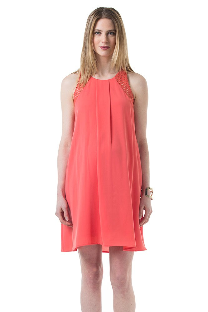 Bibiana V-Back Grid Crochet Maternity & Nursing Dress (Coral)