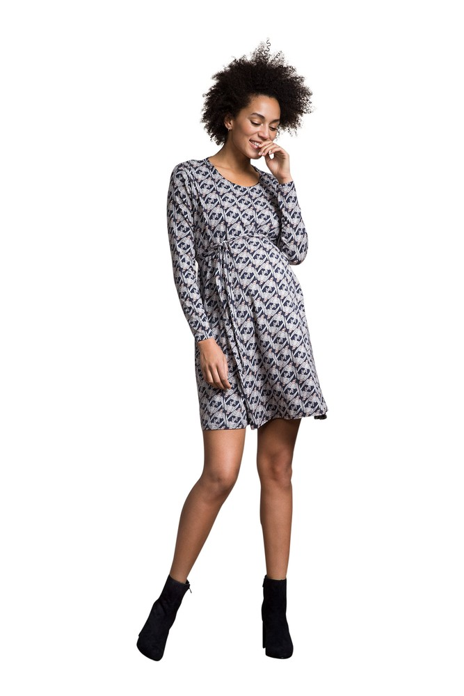 Boob Design Speakeasy Maternity & Nursing Dress (Print Midnight Blue)