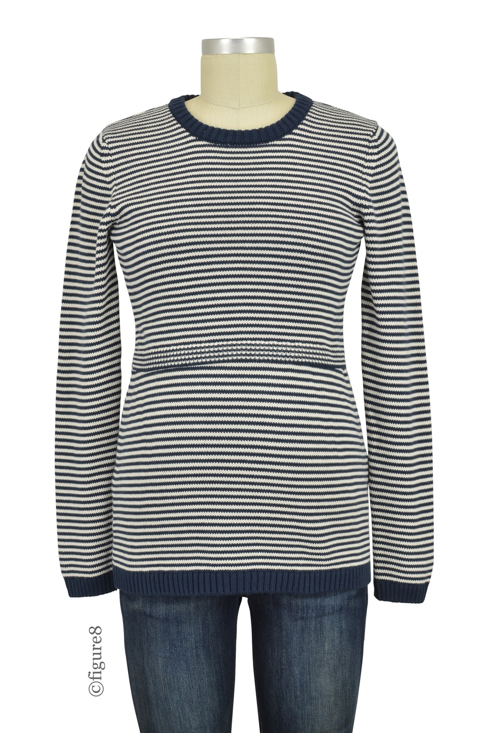 Boob Design Francis Organic Knitted Striped Maternity & Nursing Sweater (Midnight Blue/Off-White)