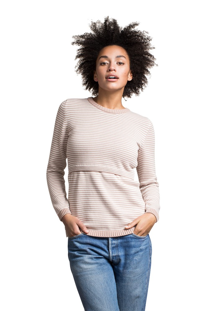 Boob Design Francis Organic Knitted Striped Maternity & Nursing Sweater (Powder Beige/Off-White)