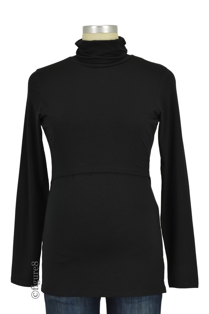 Boob Design Jackie Polo Neck Maternity & Nursing Top (Black)