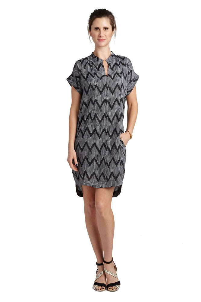 Cybelle Maternity & Nursing Woven Dress (Black Polka-Dot Chevron)