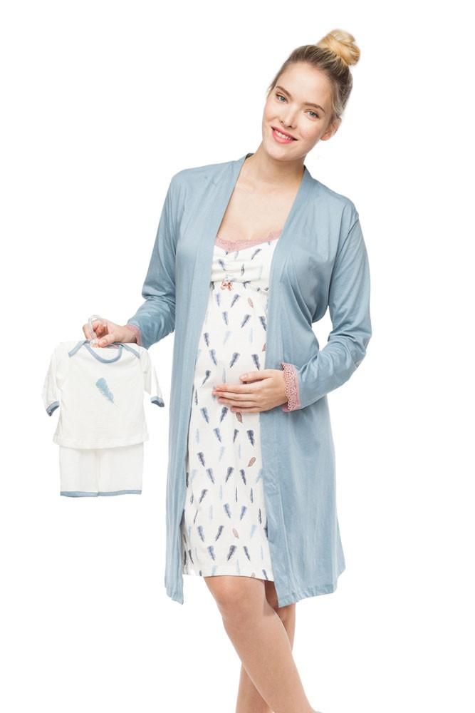 Belabumbum Plume 3-Piece Maternity & Nursing Chemise, Robe & Baby ...