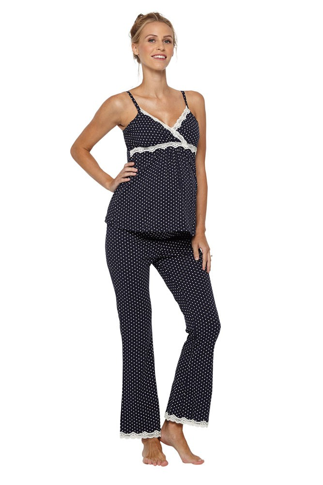 Belabumbum Dottie Maternity & Nursing Cami & Pant Set (Navy Dot)