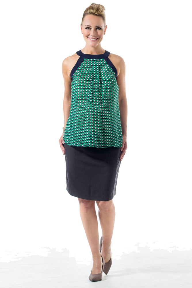 Caden Woven Printed Halter Maternity & Nursing Top (Green & Navy Print)
