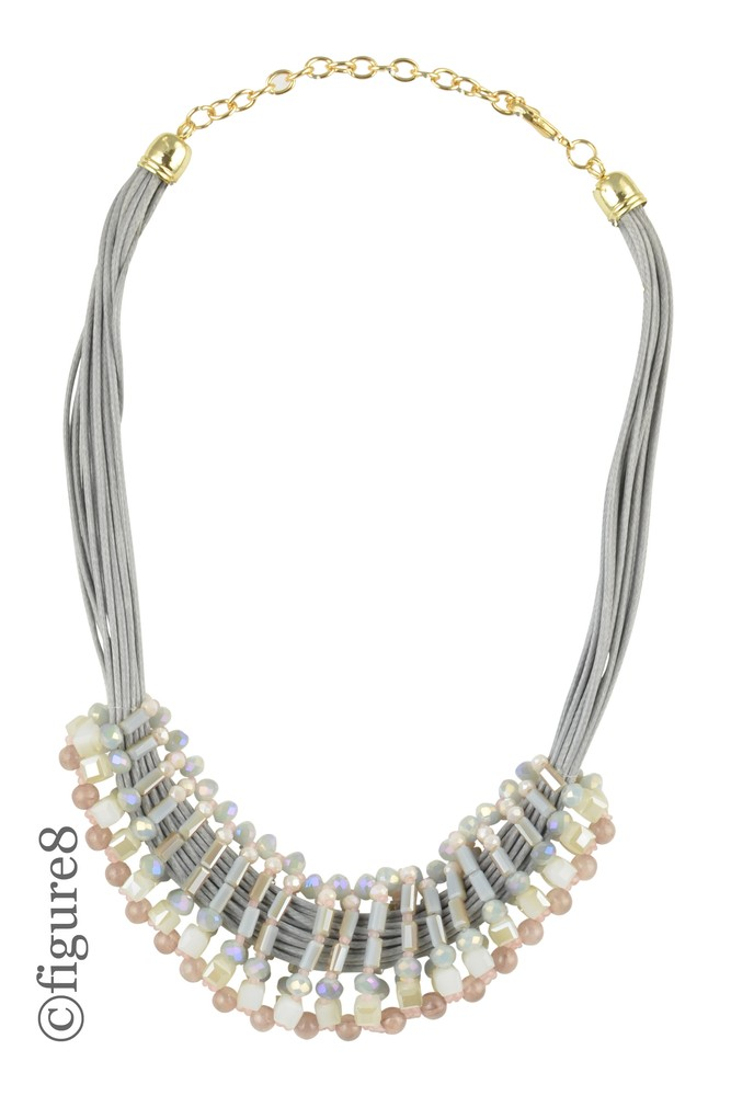 Grey Rope Beaded Necklace (Grey)