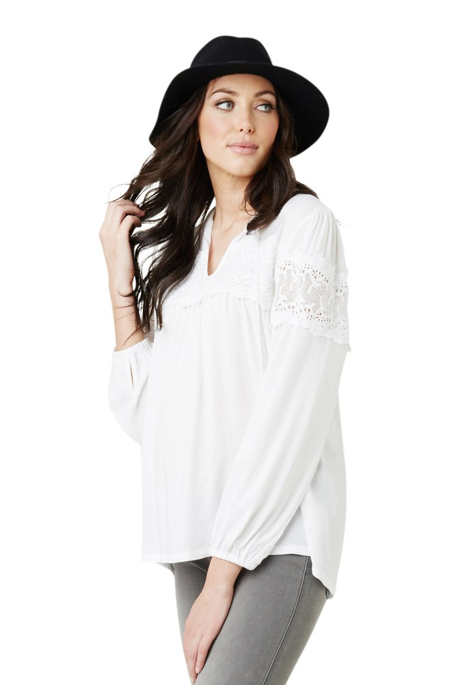 Tamara Lace Maternity Blouse (White)
