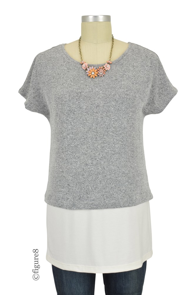 Sophie & Eve Eden Crop Knit Layered Nursing Tunic (Salt & Pepper Knit)