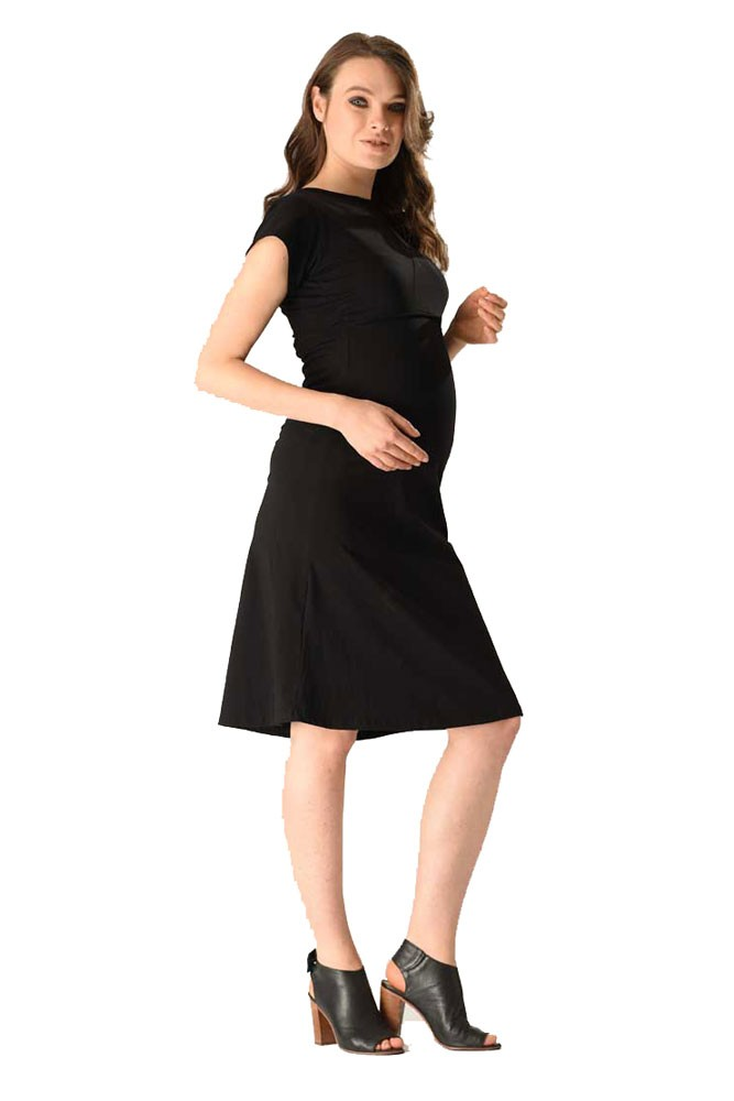 Layla Mesh Back Maternity & Nursing Dress (Black)
