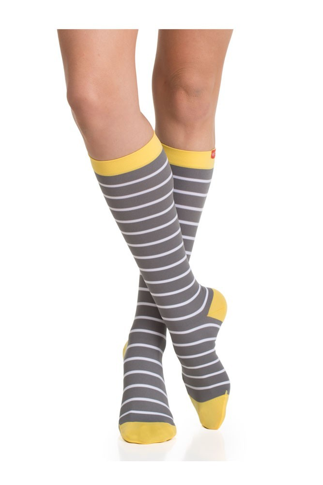 Vim & Vigr 20-30 mmHg Women's Stylish Compression Socks - Nylon (Grey, White & Yellow)